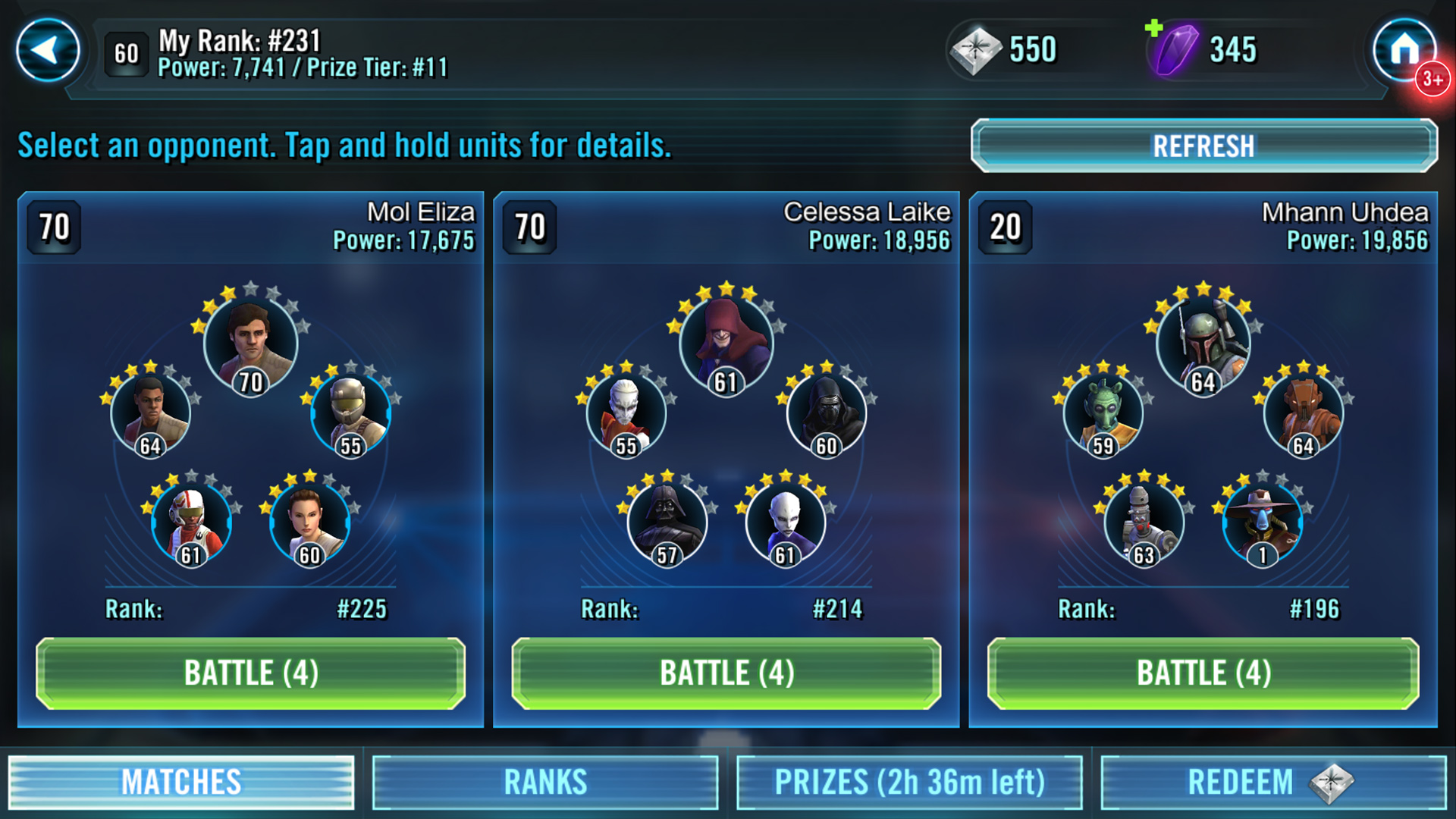 Star Wars Galaxy of Heroes squad preview