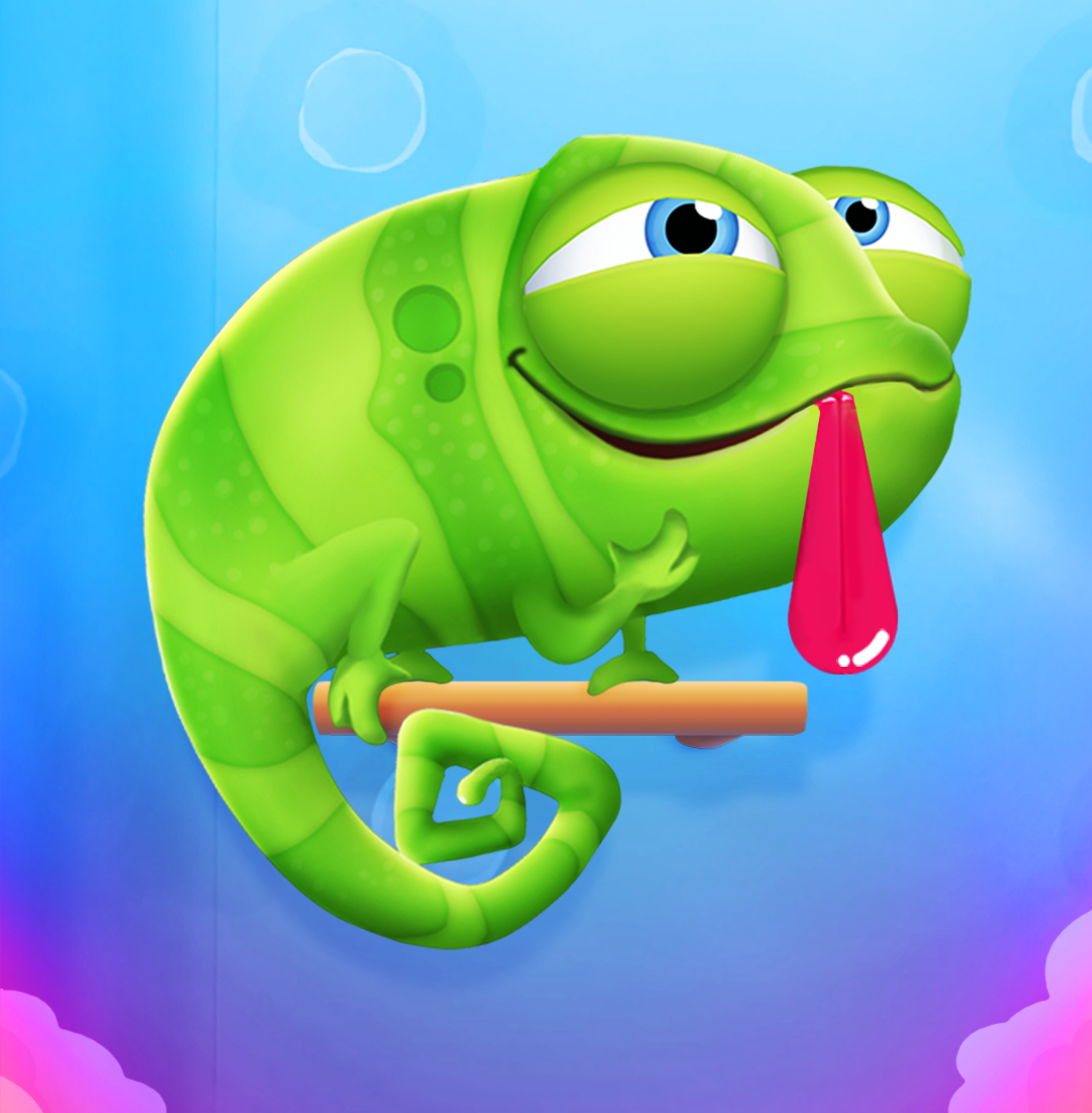 Help a cute chameleon snack on popcorn in Pull My Tongue