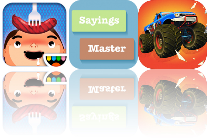 Today's Apps Gone Free: Toca Kitchen, Sayings Builder Master and Monster Truck Crush Kings